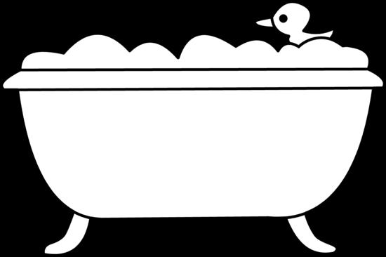 Bath Tub and Rubber Ducky Line Art.