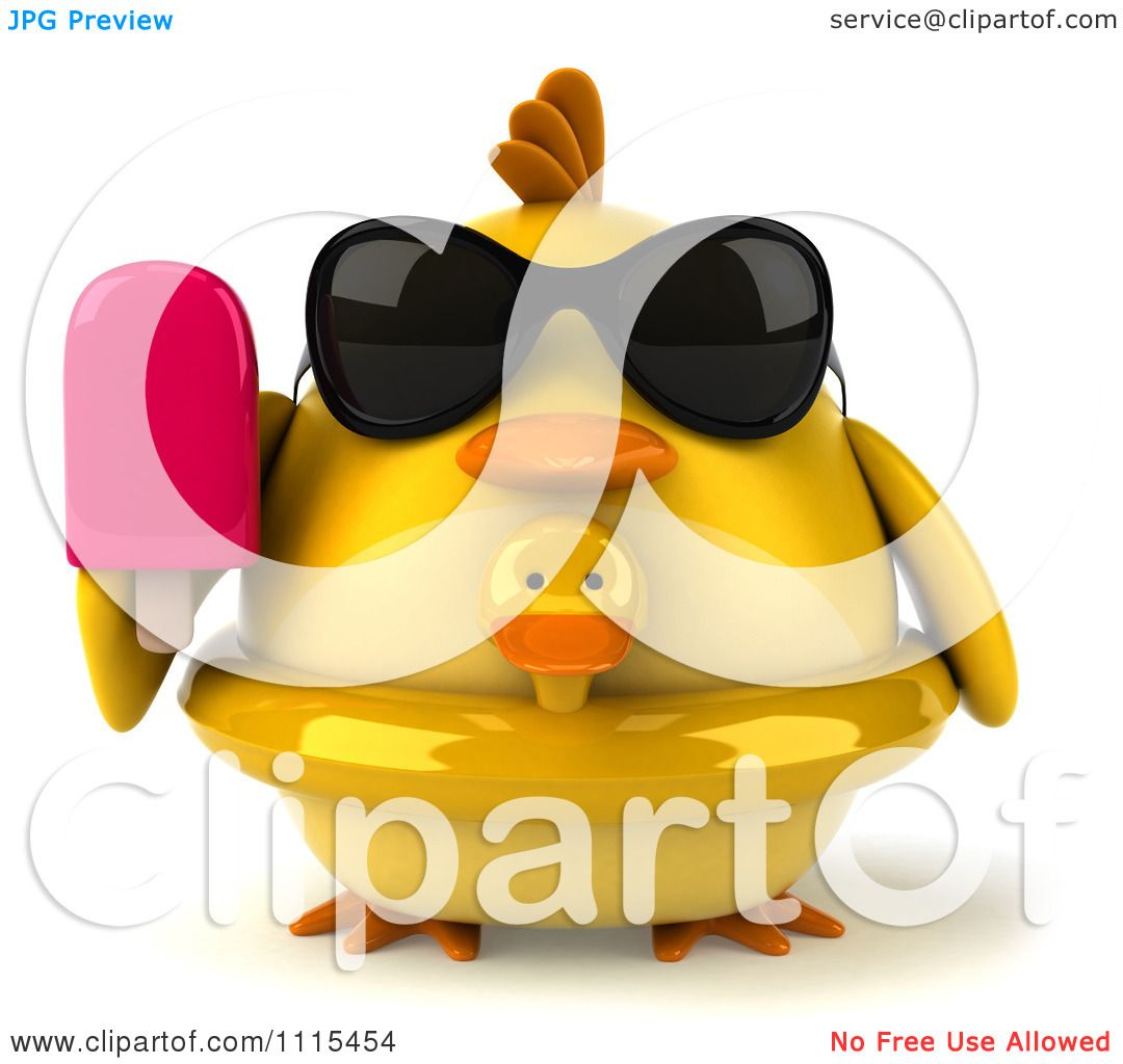 Clipart 3d Chubby Yellow Bird Chicken With An Inner Tube.