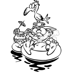 cartoon guy floating on rubber tube vacation black and white clipart.  Royalty.