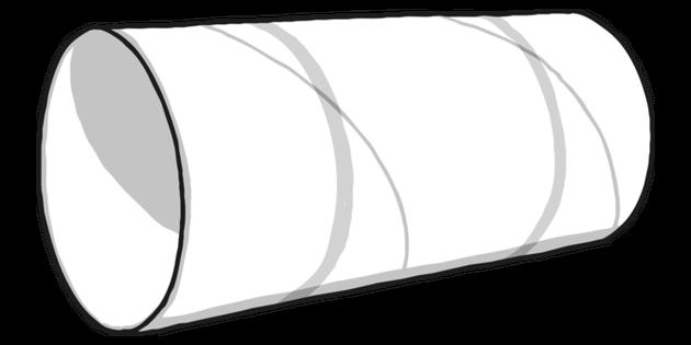 Toilet Roll Tube Black and White 1 Illustration.