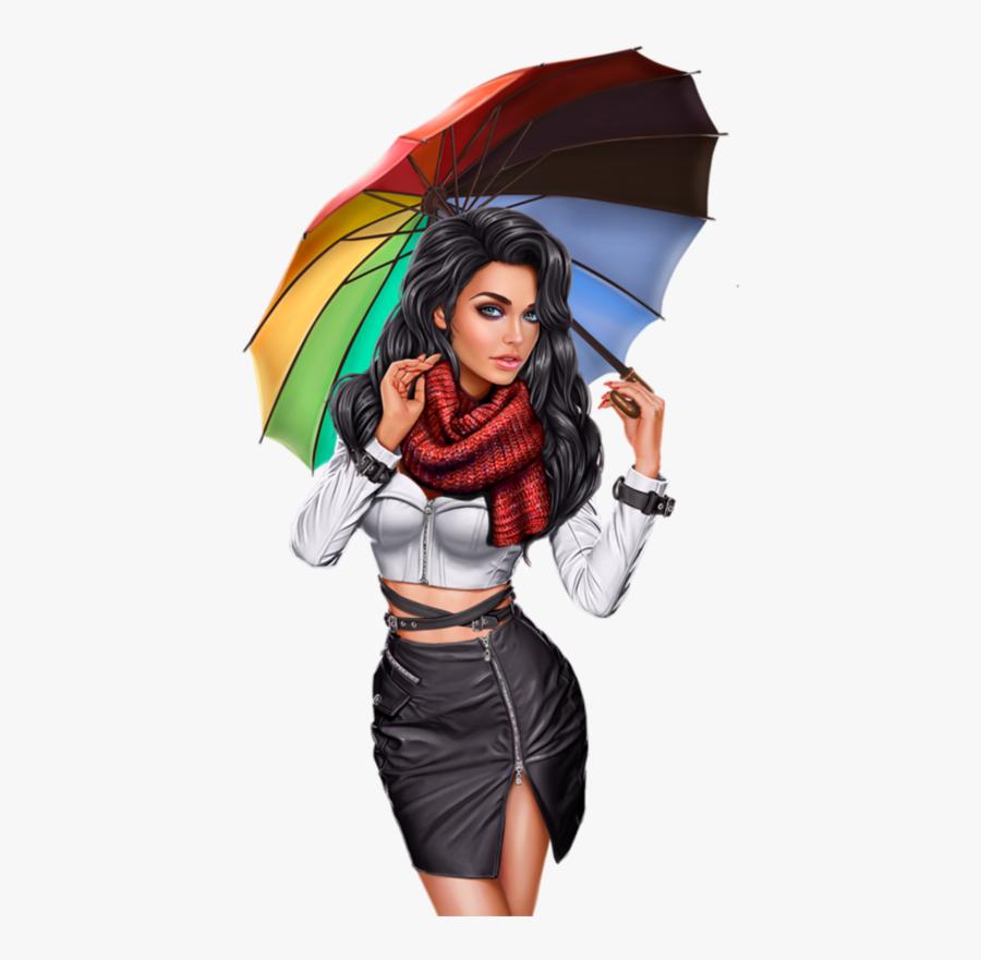 Tube Femme Avec Parapluie Ou Ombrelle Brollies, 3d.