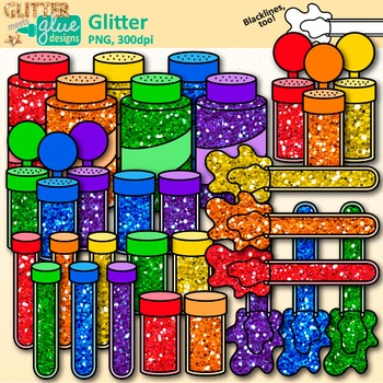 Glitter Clip Art: Shakers, Containers, & Tubes Graphics.