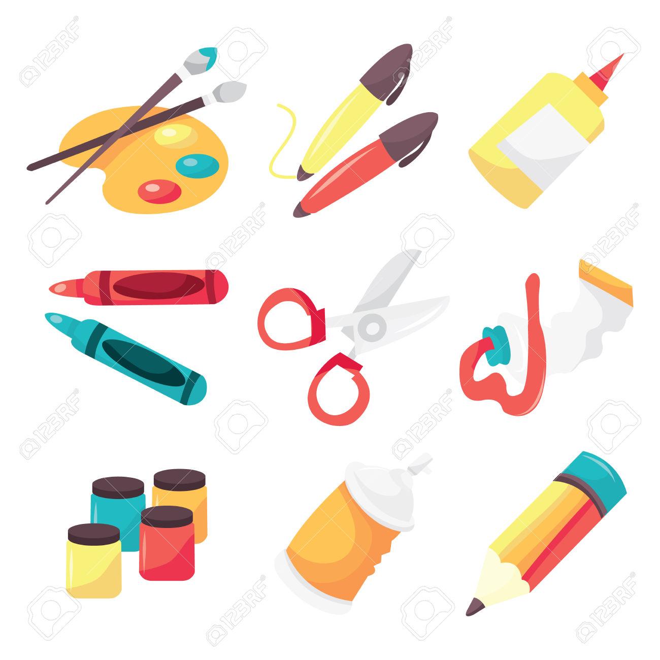 A Vector Illustration Icon Set Of Art Supplies Like Paintbrush.