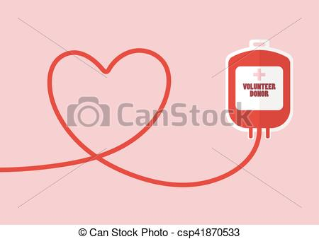 Vectors of Blood donation bag with tube shaped as a heart. Flat.