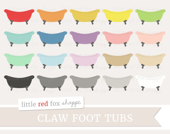 Claw Foot Tub Clipart, Vintage Tub Clip Art Retro Bath Bathroom.
