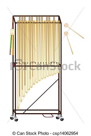 Clipart Vector of A Musical Tubular Bells Isolated on White.