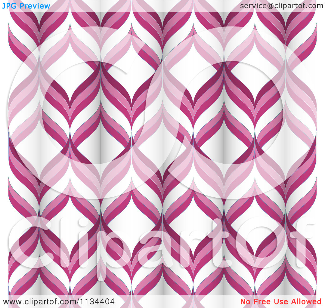 Clipart Of A Retro Pink And White Tubular Pattern.