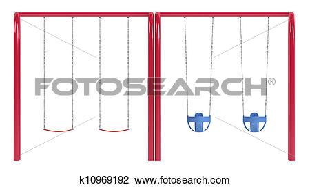 Clip Art of Childrens swings on tubular frame k10969192.