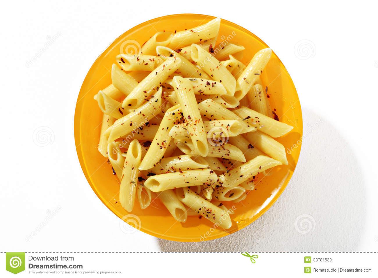 Delicious Cooked Tubular Pasta Dish Stock Photos.