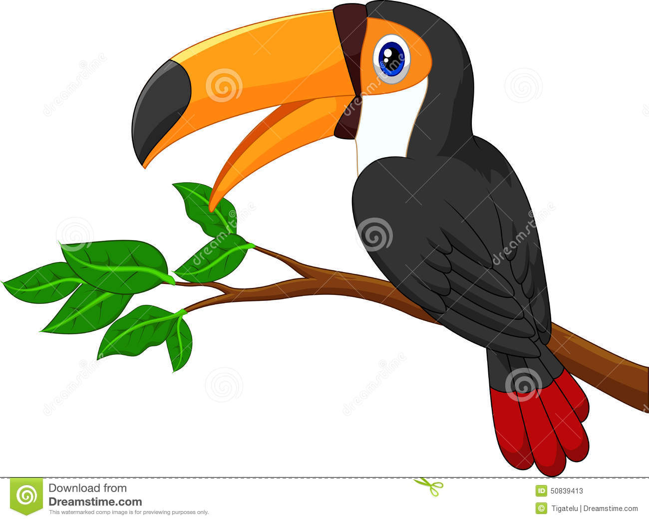 Cartoon Bird On Branch Stock Photos.