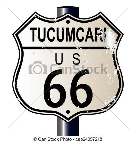 Vector Clip Art of Tucumcari Route 66 Sign.