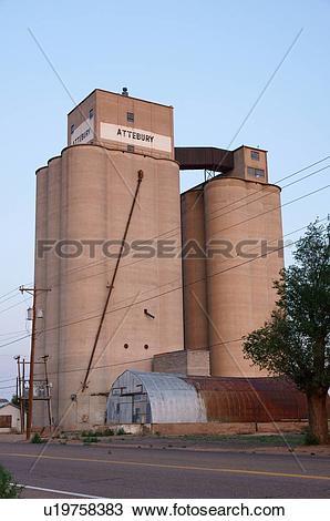 Stock Photo of route 66 attebury grain elevator tucumcari nm.