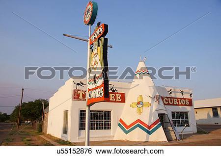Stock Images of route 66 tepee curios tucumcari new mexico nm.