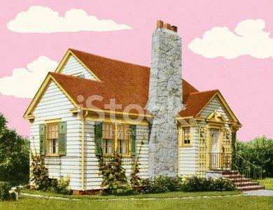 Tudor Style House Clipart Image.