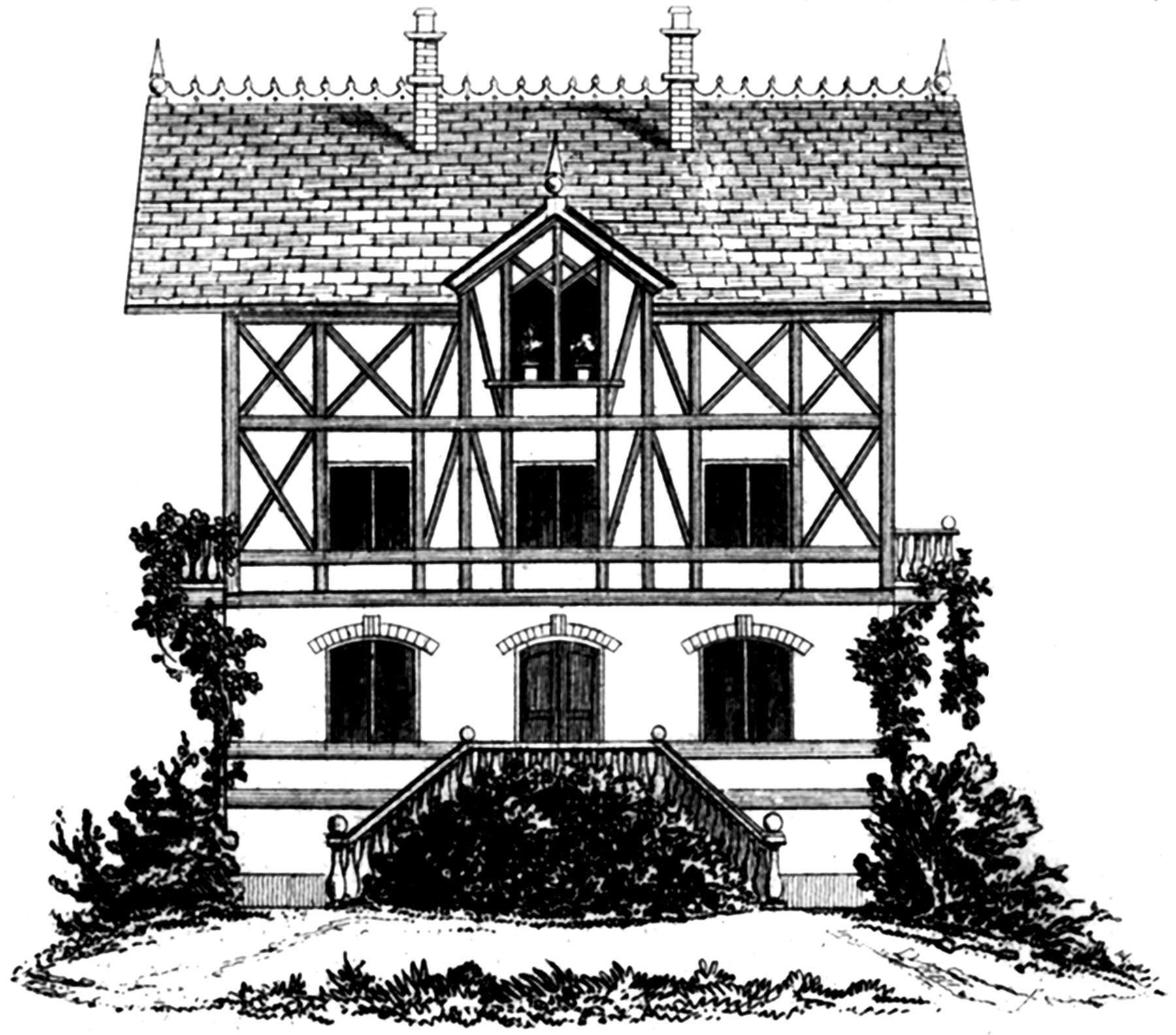 Vintage French Tudor House Image.