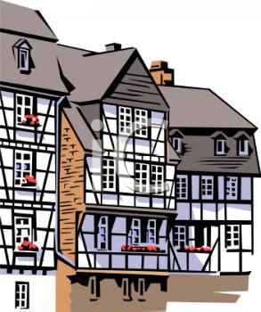Tudor Buildings Clipart.