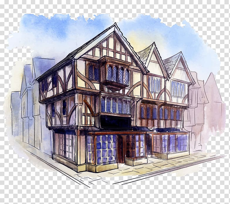 Tudor architecture Watercolor painting, design transparent.