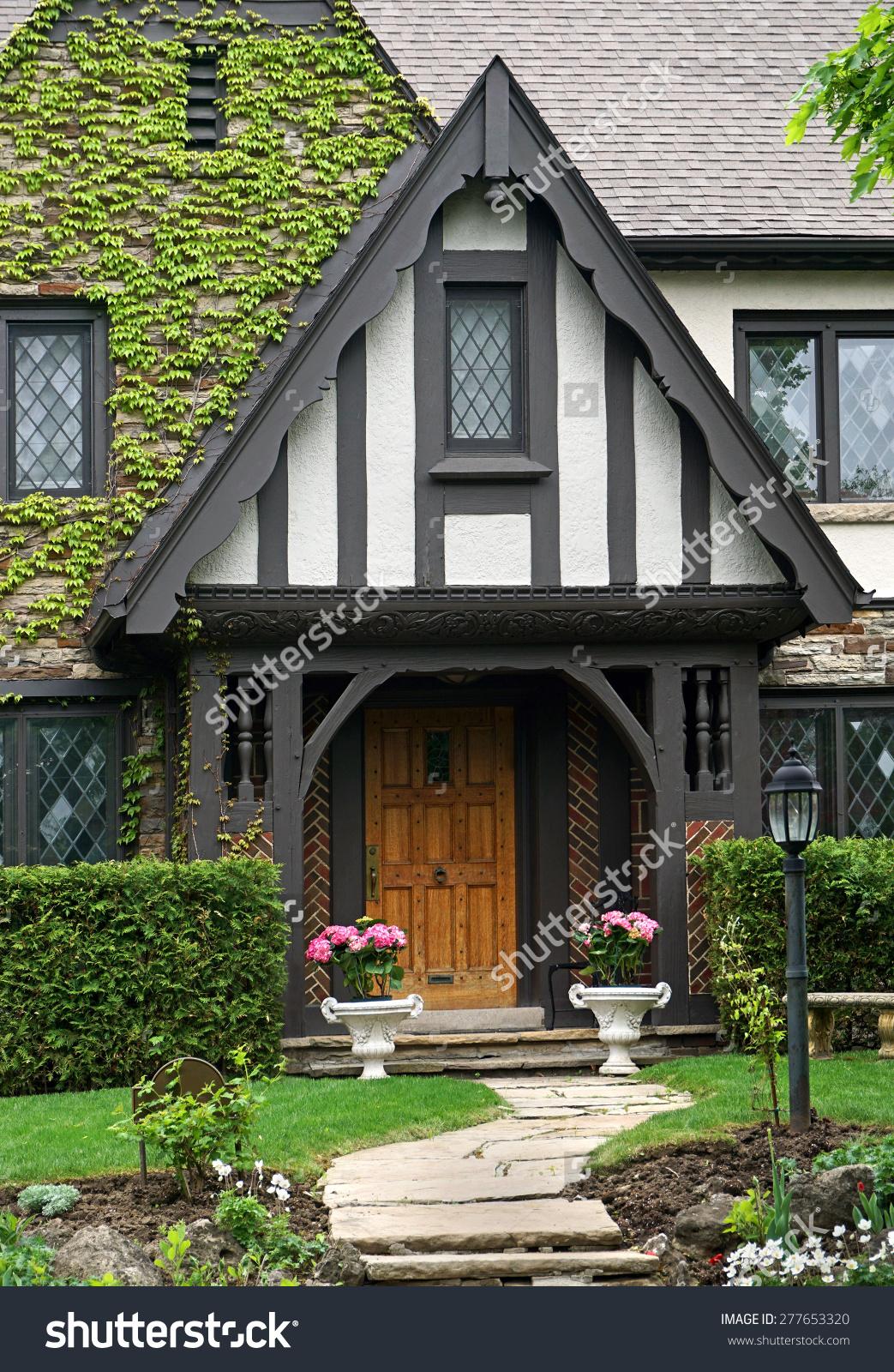 Tudor Style House Front Vines Stock Photo 277653320