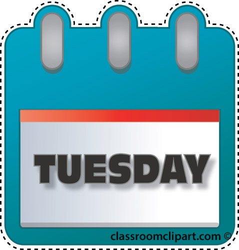Tuesday Calendar Clipart.