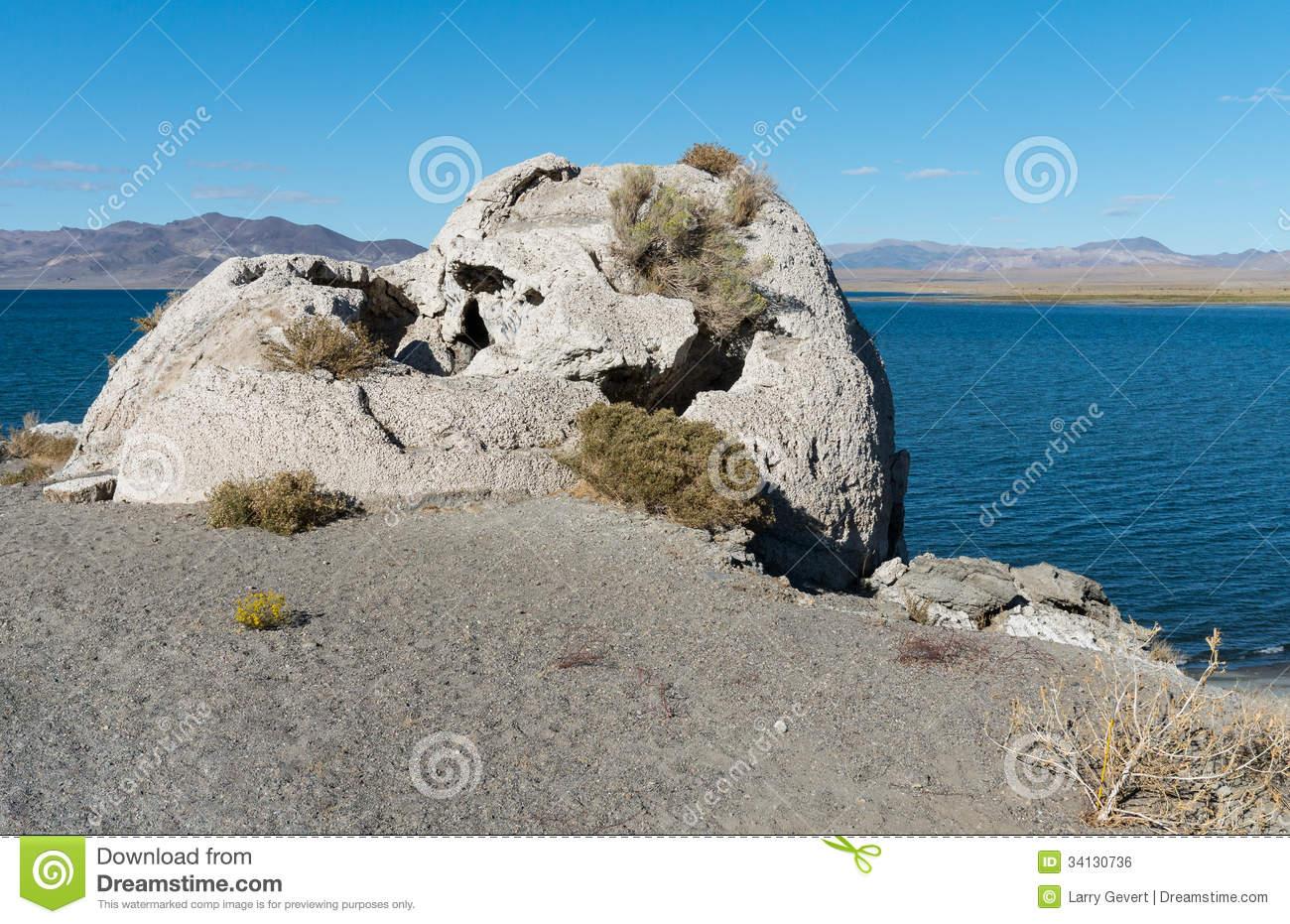 Tufa Rock At Pyramid Lake, Nevada Royalty Free Stock Photos.