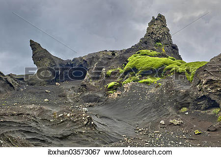 """Picture of """"Tufa rock formations, Vik, Southern Region, Iceland."""