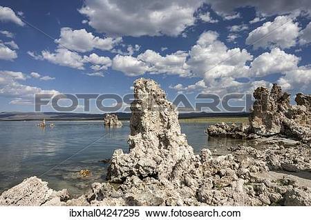 Stock Image of Tuff rock formation, clouds, Mono Lake, Mono Lake.
