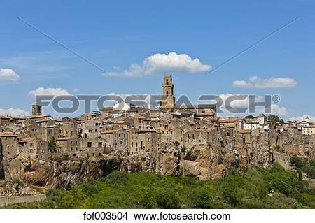 Stock Photo of Italy, Tuscany, Maremma, Pitigliano, View of.