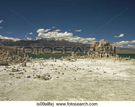 Stock Photo of View of tufa towers and distant mountains at Mono.