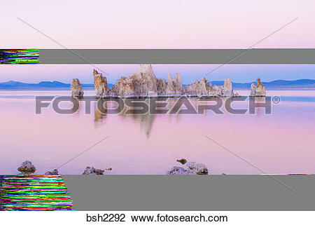 Stock Photo of Tufa towers at dusk on the south shore of Mono Lake.