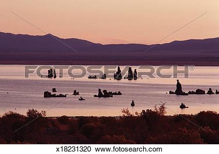 Stock Photography of USA, California, Mono Lake, tufa towers.