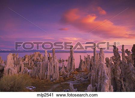 Stock Photography of Dawn over Tufa Towers, Mono Lake, Inyo.