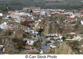 Stock Image of Cave houses of Guadix.