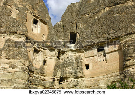 "Stock Image of ""Dovecote in a hollow tuff rock, Goreme, Cappadocia."