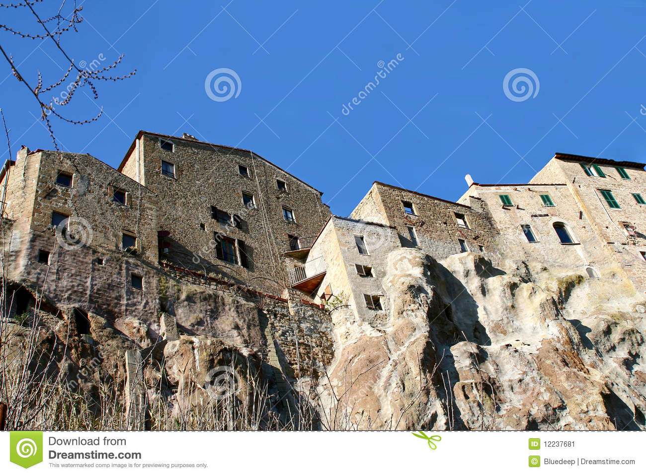 Pitigliano And Its Houses On The Tuff Rock Stock Image.