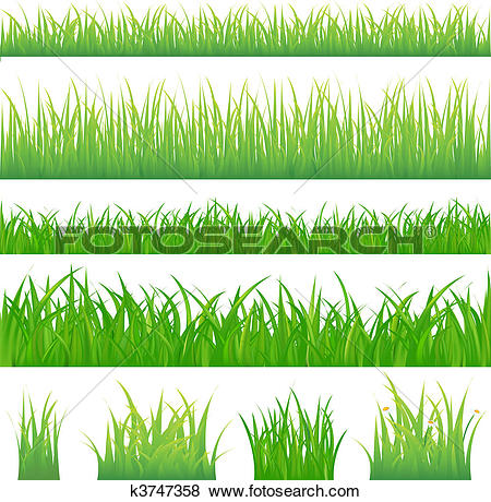 Clip Art of 4 backgrounds of green grass and 4 tufts of grass.
