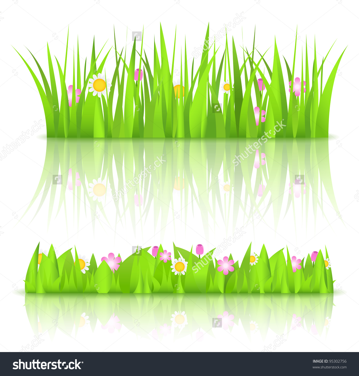 Green Grass With Flowers, Vector Eps10 Illustration.
