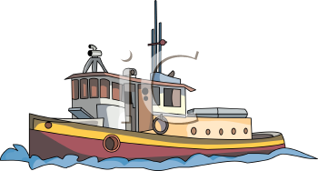 Realistic Tugboat Drawing.