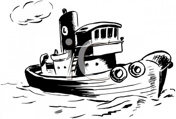 Coloring Page of a Tugboat.