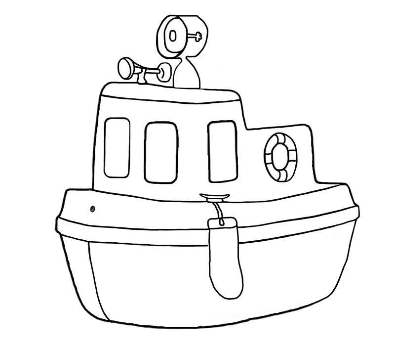 Download Free png pin Tugboat clipart black and.