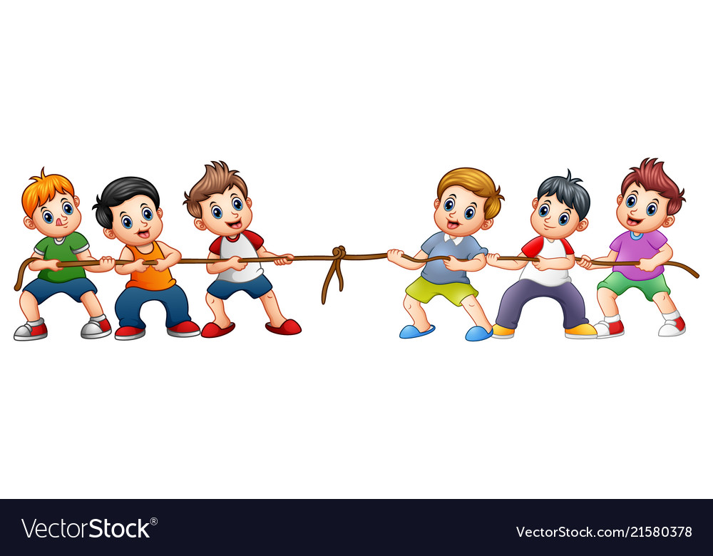 Group of children playing tug of war.