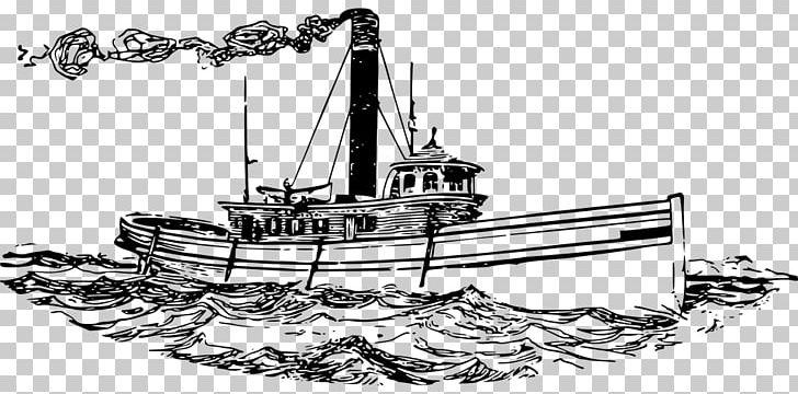 Tugboat Ship Line Art PNG, Clipart, Artwork, Black And White.