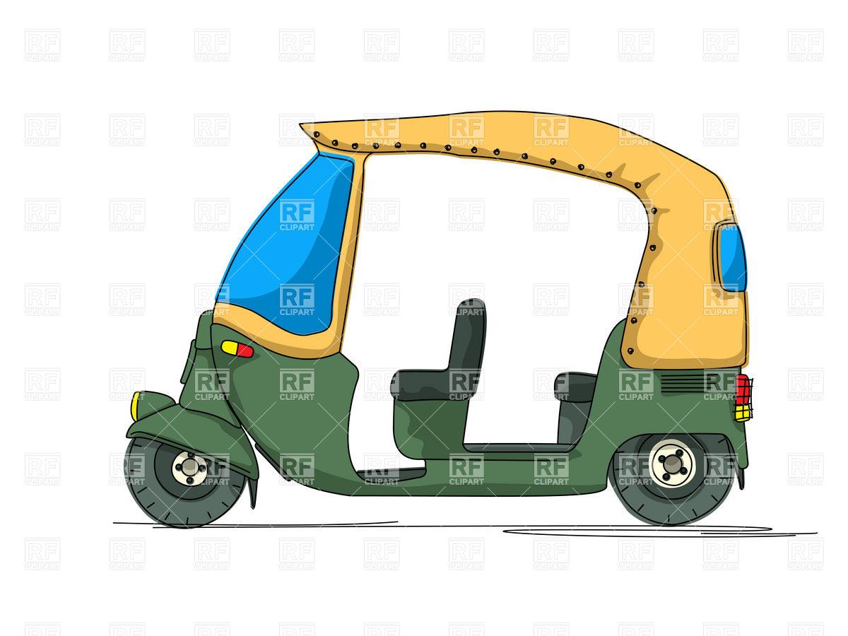 Auto Rickshaw Tuk Tuk Side View Download Royalty Free Vector.