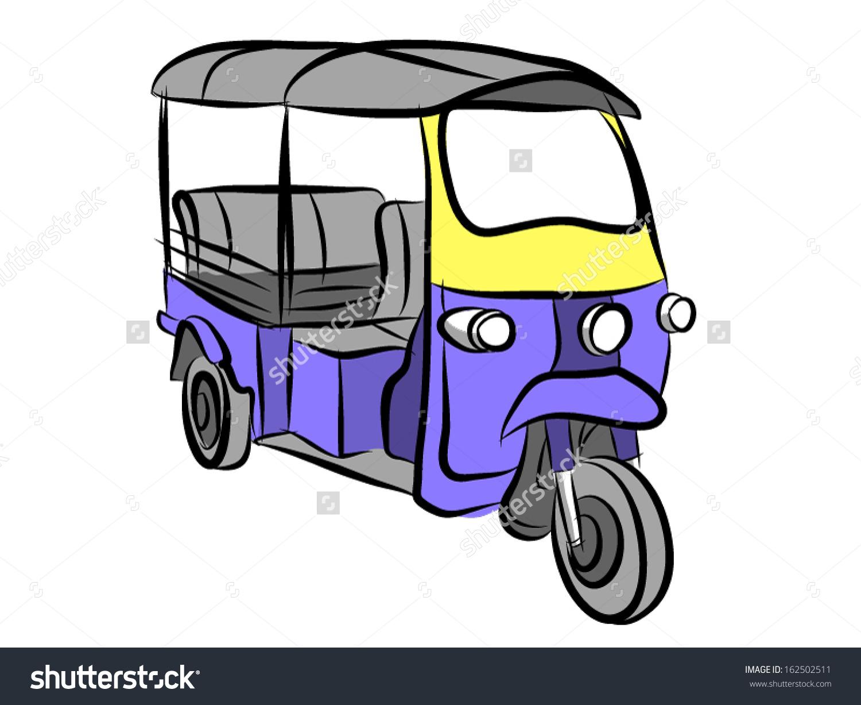 Tuk Tuk 3 Wheels Taxi Bangkok Stock Vector 162502511.