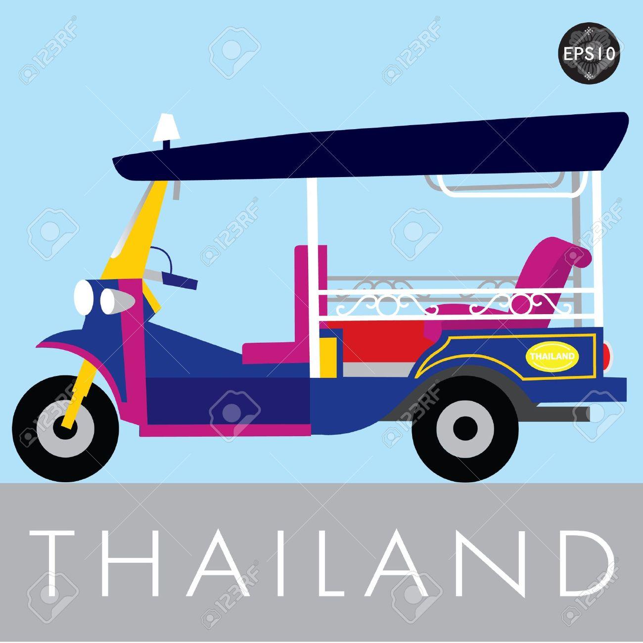 Thai Traditional Tuk Tuk In Bangkok Of Thailand, Vector Royalty.