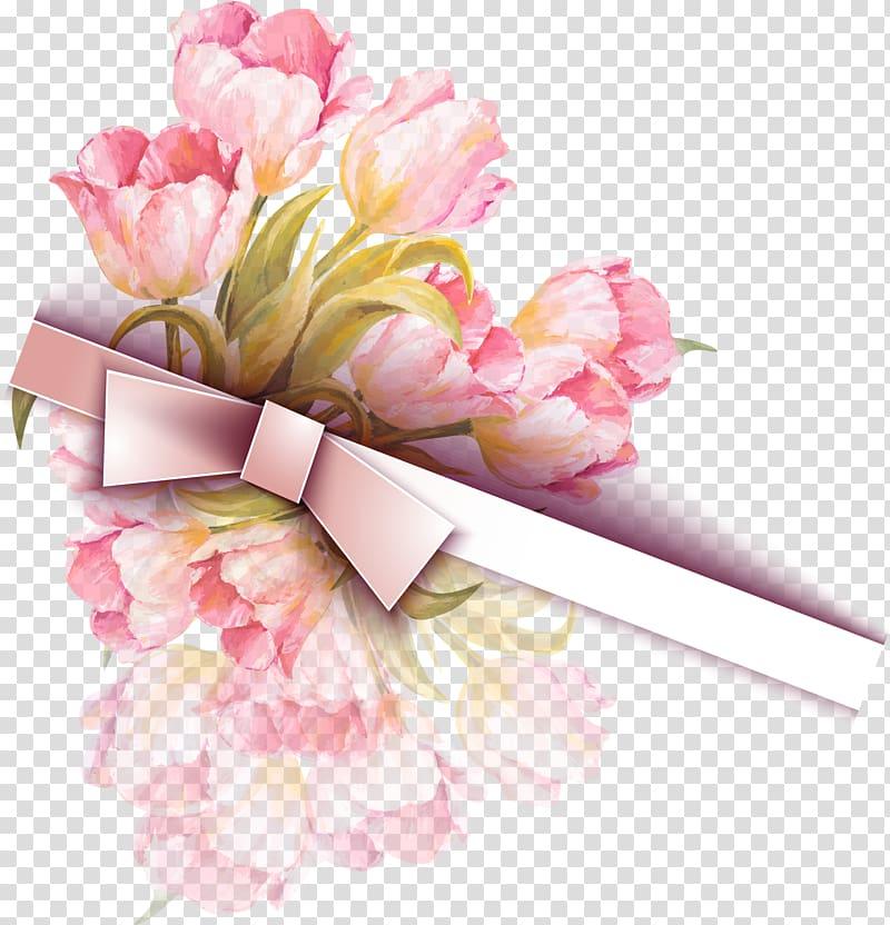 Wedding invitation, Tulip Watercolor Ribbon , pink tulip.