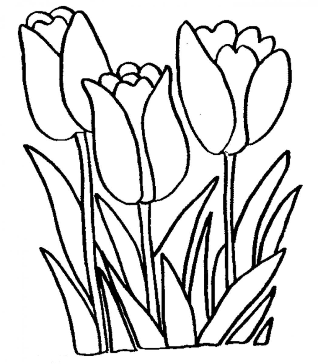 Black And White Tulip Clipart.