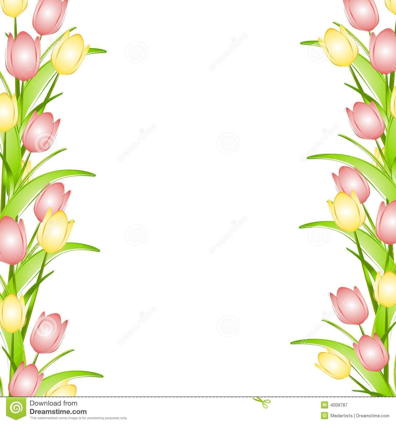 Pink Flower Border Clip Art Pink Yellow Spring Tulips Flower.