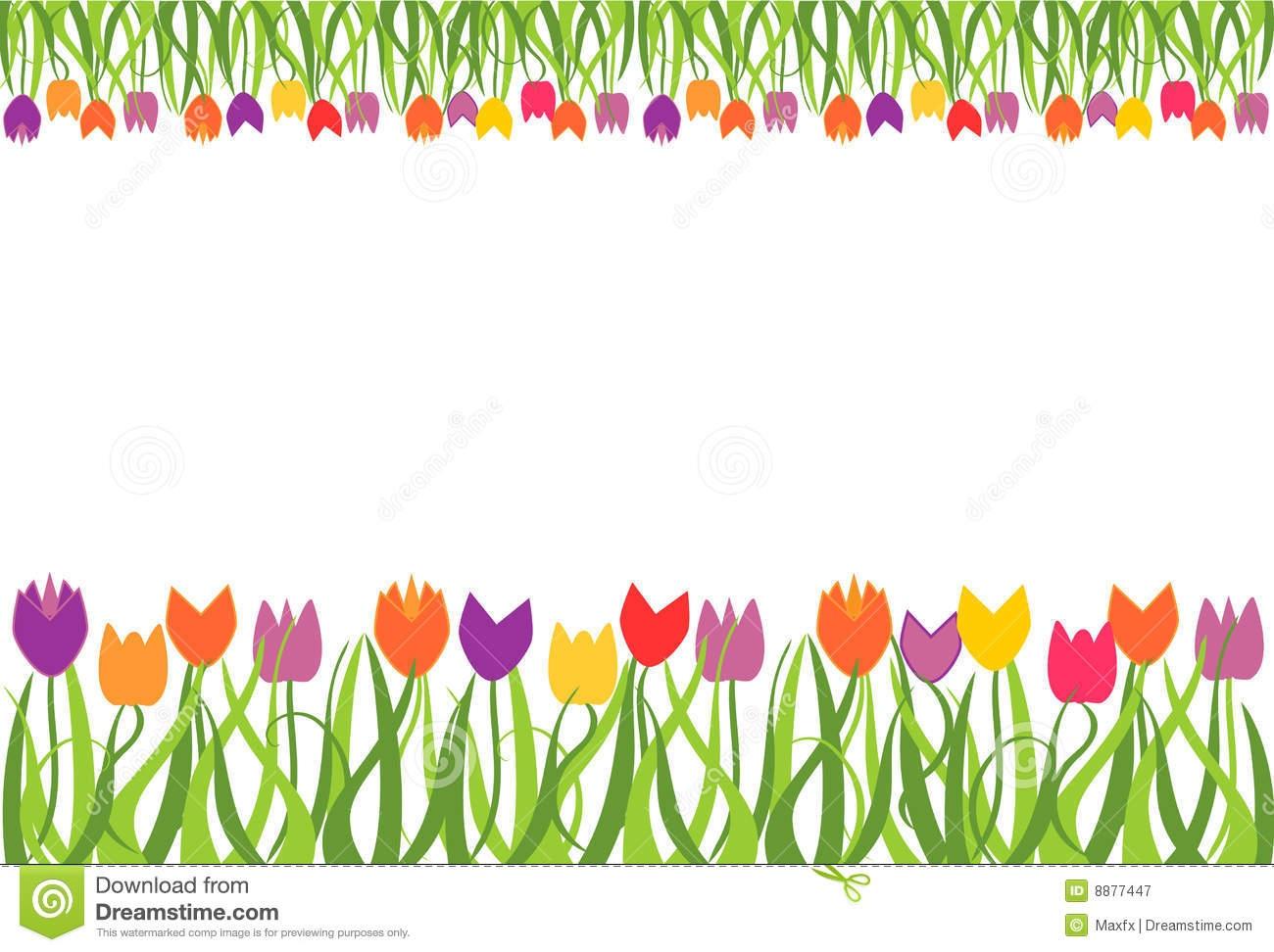 Flower garden border clip art Awesome Tulip Border Clipart.