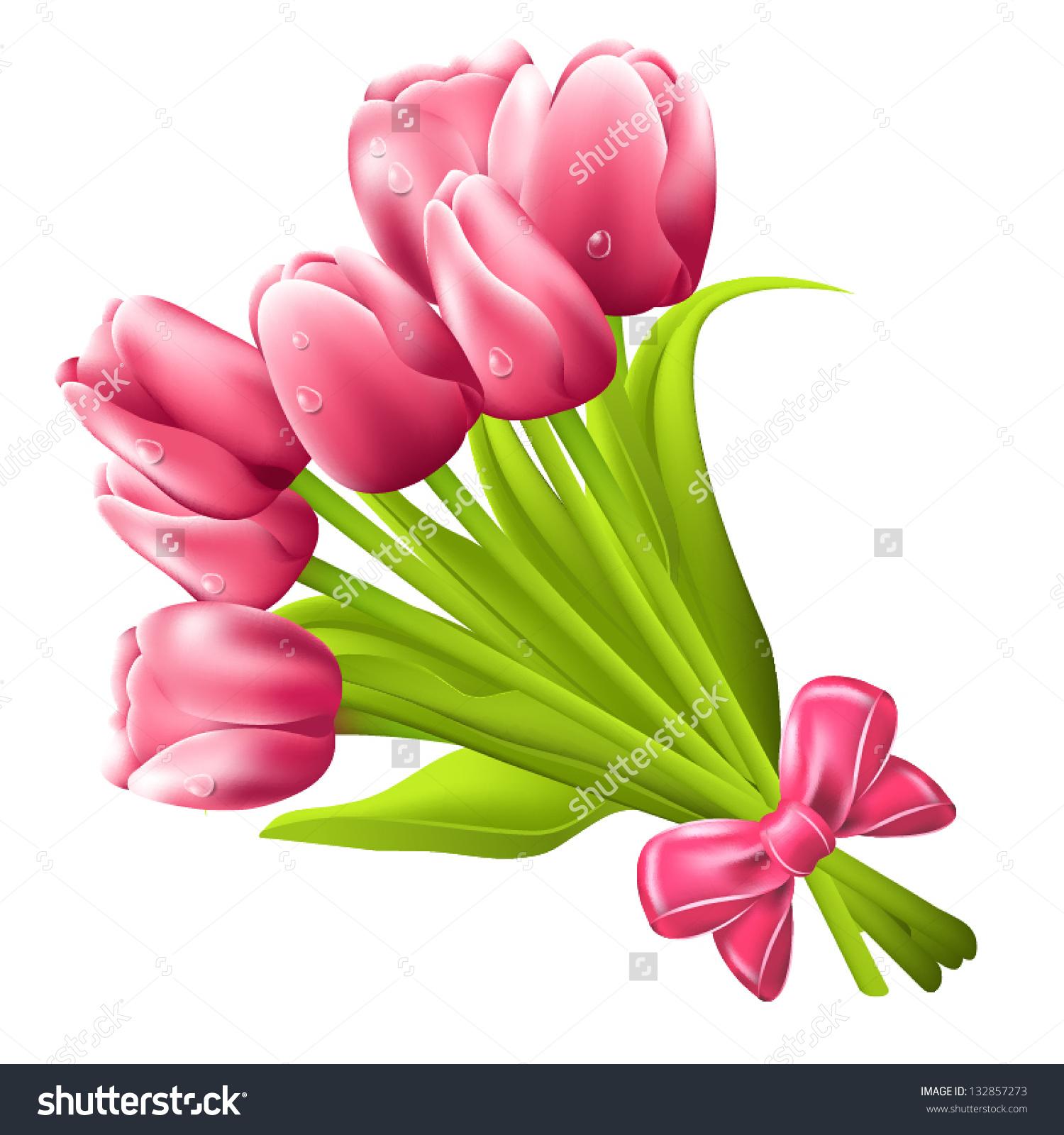 Tulip Bouquet Vector Stock Vector 132857273.