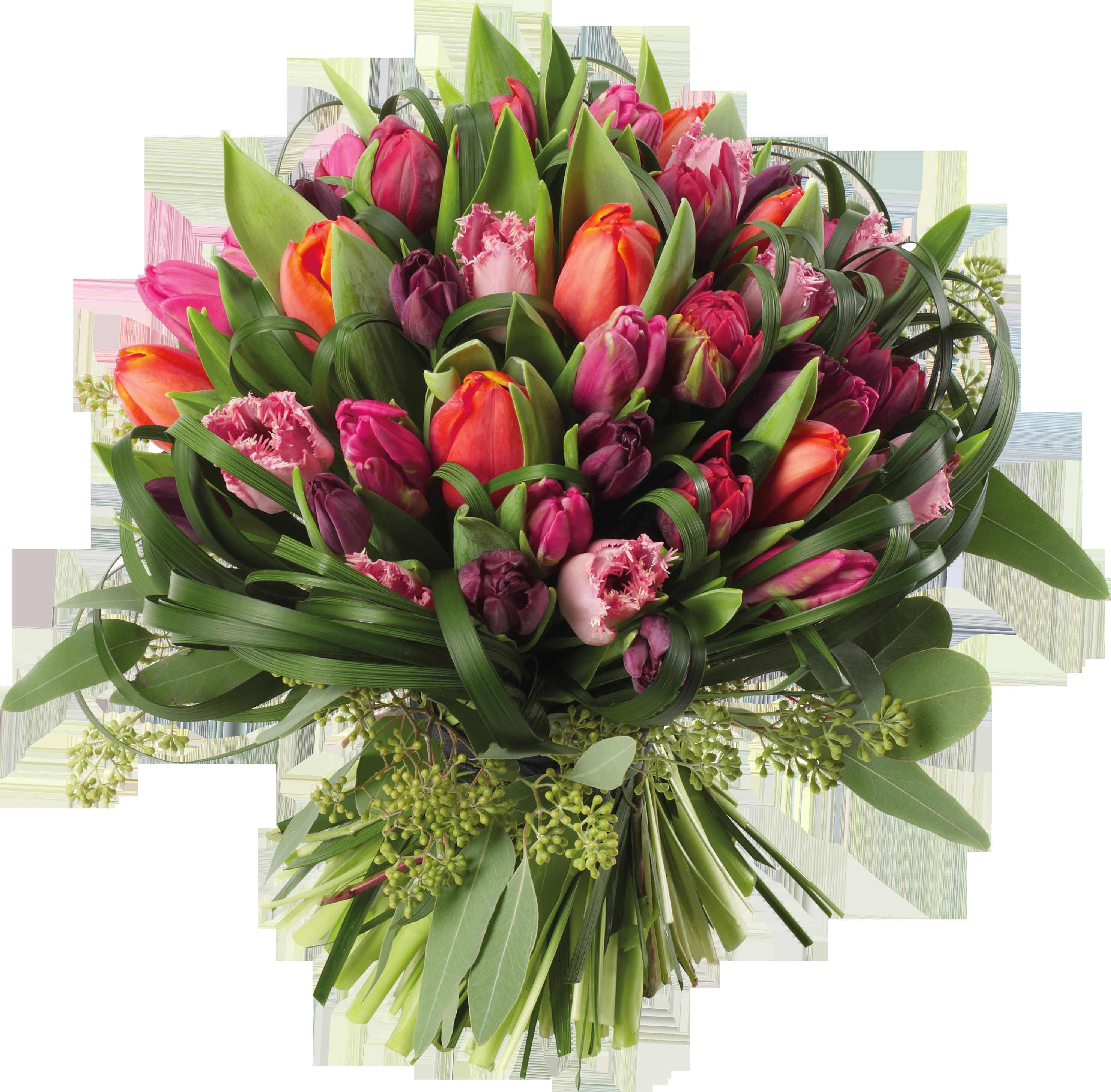 Transparent Tulips Bouquet PNG Clipart Picture.